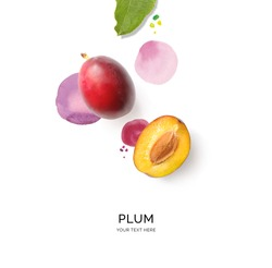 Creative layout made of plum on the watercolor background. Flat lay. Food concept.