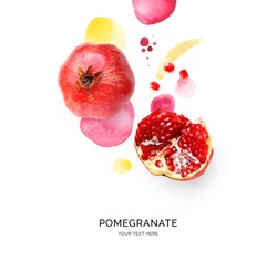 Creative layout made of pomegranate on the watercolor background. Flat lay. Food concept.