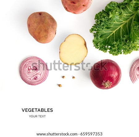 Creative layout made of potatoes, onion and kale. Flat lay. Food concept. Vegetables isolated on white background. #659597353