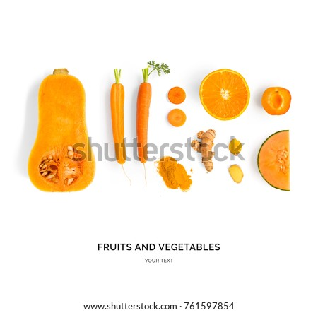 Creative layout made of pumpkin, carrot, orange, melon, apricot and turmeric. Flat lay. Food concept. Orange fruit and vegetables isolated on white background. #761597854