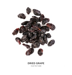 Creative layout made of raisin on white background.Flat lay. Food concept.