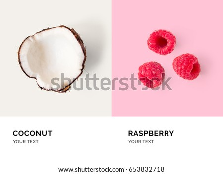 Creative layout made of raspberry and coconut. Flat lay. Food concept.