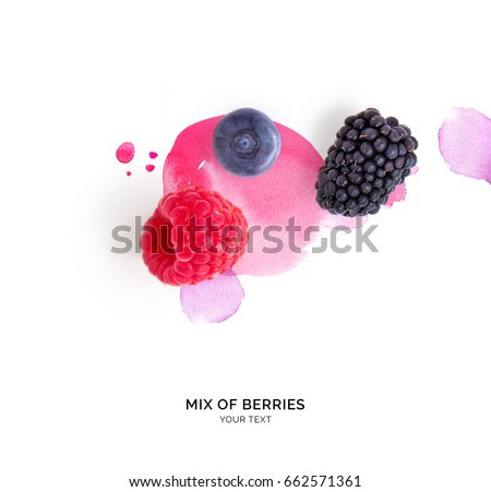Creative layout made of raspberry, blueberry and blackberry on the watercolor background.. Flat lay. Food concept. #662571361