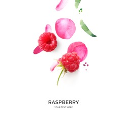 Creative layout made of raspberry with watercolor spots on the white background. Flat lay. Food concept.