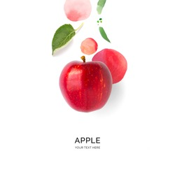 Creative layout made of red apple on the watercolor background. Flat lay. Food concept.