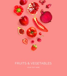 Creative layout made of red apple, red pepper, red grape, beetroot, pomegranate, strawberry, raspberry, cherry, chilli, tomato  on the red background. Flat lay. Macro  concept.