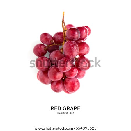 Creative layout made of red grape. Flat lay. Food concept. #654895525