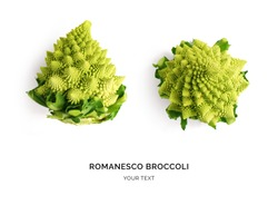 Creative layout made of romanesco cauliflower. Flat lay. Food concept. Romanesco broccoli on the white background.