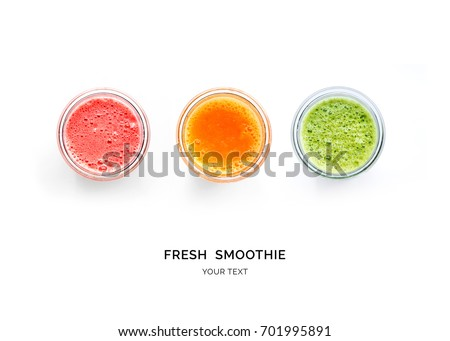 Creative layout made of smoothies. Flat lay. Food concept. Smoothies on the white background. #701995891