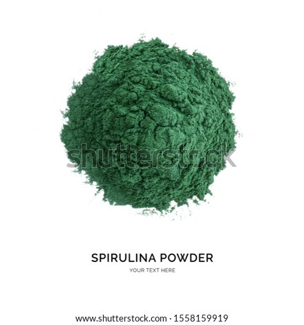 Creative layout made of spirulina powder on white background. Flat lay. Food concept. Macro concept. Foto stock ©