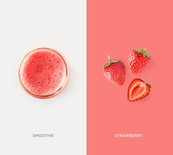 Creative layout made of strawberry juice and strawberry. Flat lay. Food concept. Macro concept.