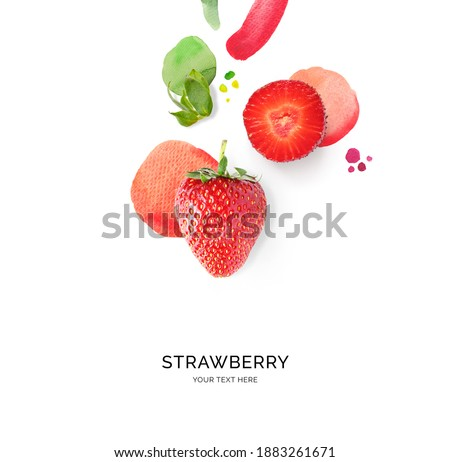 Creative layout made of strawberry with watercolor spots on the white background. Flat lay. Food concept.