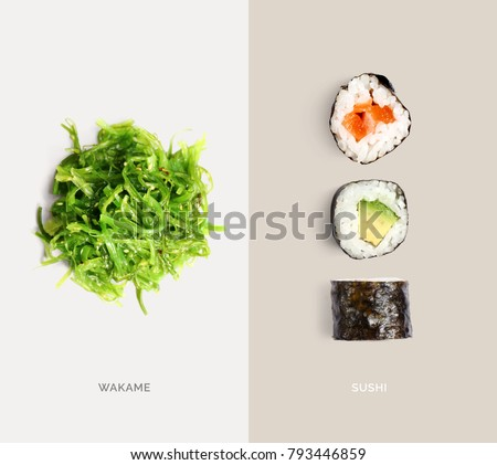 Creative layout made of sushi and wakame. Flat lay. Food concept. Macro  concept.