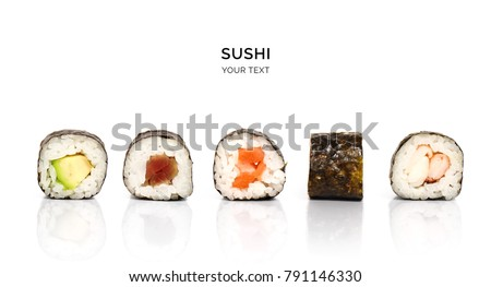 Creative layout made of sushi. Flat lay. Food concept. Macro  concept.