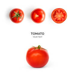 Creative layout made of tomato on the white background.