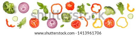 Creative layout made of tomato slice, onion, cucumber, basil leaves. Flat lay. Food concept. Vegetables isolated on white background. Banner. #1413961706