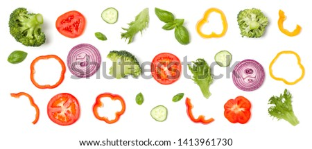 Creative layout made of tomato slice, onion, cucumber, basil leaves. Flat lay. Food concept. Vegetables isolated on white background. #1413961730