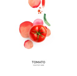 Creative layout made of tomato with watercolor spots on the white background. Flat lay. Food concept.