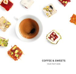 Creative layout made of turkish delights and turkish coffee on white background. Flat lay. Food concept. Macro concept.