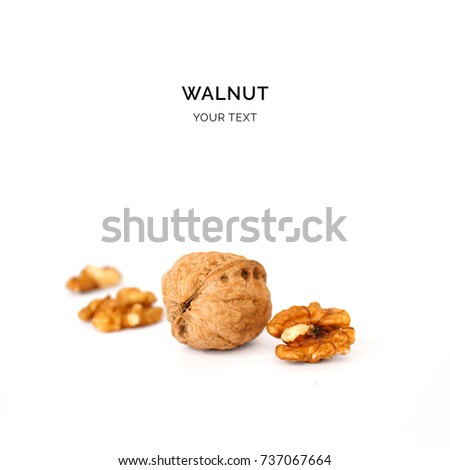 Creative layout made of walnut. Flat lay. Food concept. #737067664