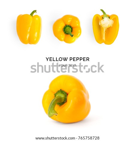 Creative layout made of yellow pepper. Flat lay. Food concept. Pepper on the white background. #765758728