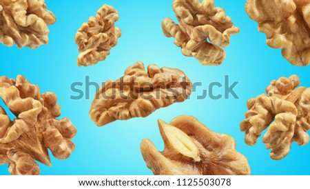 Creative layout made pattern walnuts isolated pink background. Macro concept. Mockup walnut  as package design element. Full depth of field. #1125503078