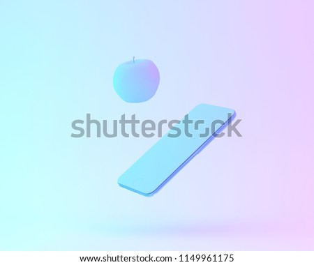 Creative layout of apple with smartphone painted in white and vibrant bold gradient purple and blue holographic color lights background. minimal office concept. surrealism art. #1149961175