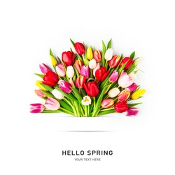 Creative layout with colorful tulip flowers bouquet and banner isolated on white background. Floral composition with beautiful fresh tulips. Hello spring and easter concept, flat lay, copy space