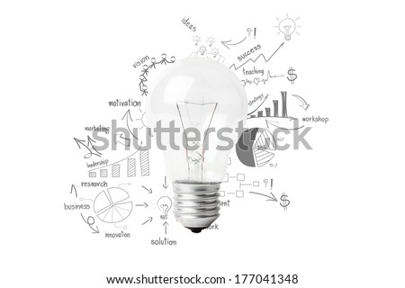Creative light bulb idea with drawing business success strategy plan, Inspiration concept modern design, isolated on white background