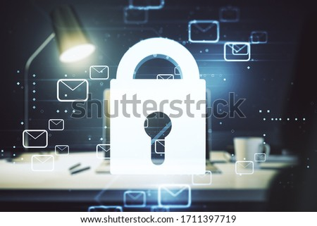 Creative lock sketch with email symbols hologram on modern laptop background, protection of personal data concept. Multiexposure 商業照片 ©