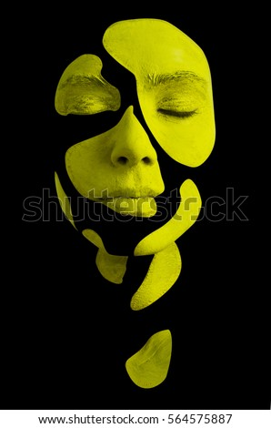 Creative makeup. Conceptual idea of bold body art painting. Abstract picture isolated on black on woman face.