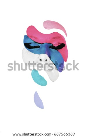 Stock Photo Creative makeup. Conceptual idea of bold body art painting. Abstract picture isolated on white on woman face.