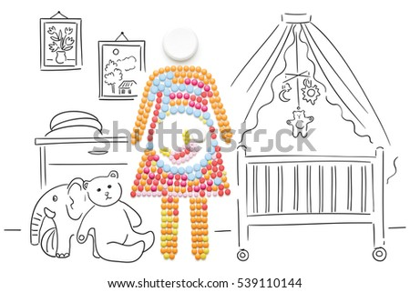 Creative medicine and healthcare concept made of pills, a pregnant woman with a baby on sketchy background.  #539110144
