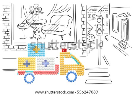 Creative medicine and healthcare concept made of pills, drug and medication delivery by truck, on sketchy background. #556247089