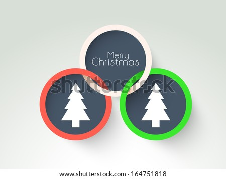 Creative Merry Christmas celebration sticker, tag or label decorated with Xmas tree on green background.