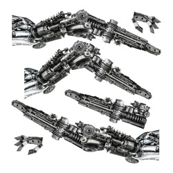 Creative metallic robot hand made from machine part isolated on white background with clipping path
