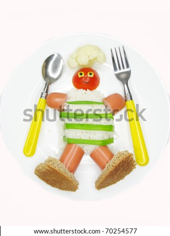 creative millet porridge garnish with cook man shape holding fork and spoon