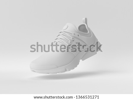 Creative minimal paper idea. Concept white shoe with white background. 3d render, 3d illustration.