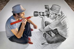Creative mixed media image showing a man holding a giant red pencil drawing his own reflection which is itself facing the illustrator and holding a big DSLR camera