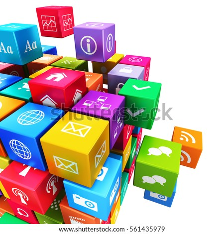 Creative mobile applications, media technology and internet networking web communication concept: colorful metallic cube with cloud of color application icons isolated on white background