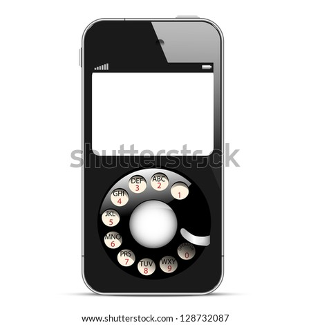 Creative Mobile phone with retro disc dials. Concept illustration. Raster version