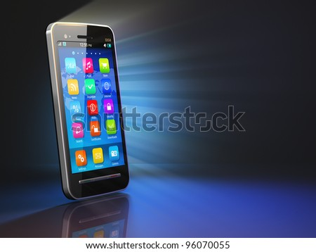 Creative mobility concept: black glossy touchscreen smartphone on black background with reflection effect
