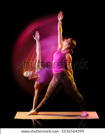 Creative multiexposure picture of a yoga girl changing yoga pose