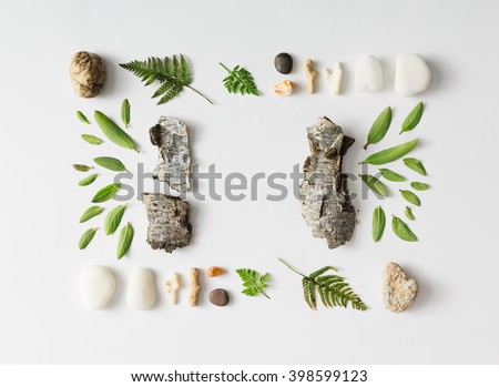 Creative natural layout made of leaves, stones, and tree bark on white background. Flat lay.
