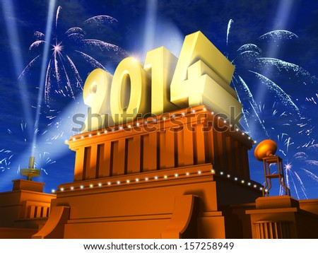 Creative New Year 2014 celebration concept: shiny golden 2014 text on pedestal at night with fireworks in cinema style