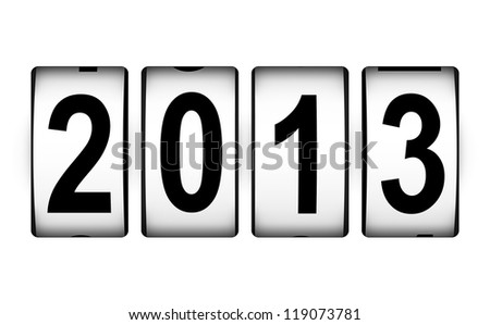Creative New Year 2013 concept isolated on white background