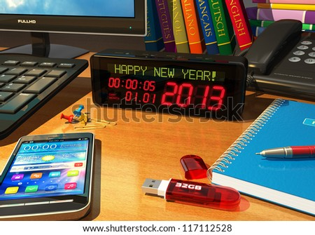 "Creative New Year 2013 concept: macro view of digital alarm clock with ""Happy New Year!"" message on table among other business objects"