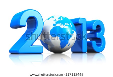 Creative New Year 2013 concept with blue glossy Earth globe isolated on white background with reflection effect