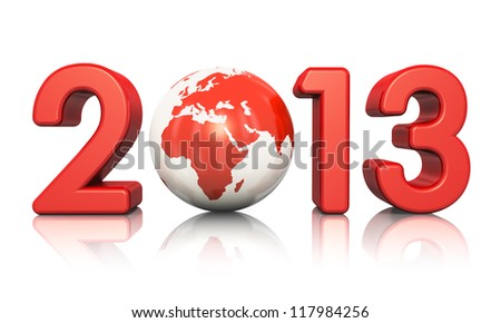 Creative New Year 2013 concept with red glossy Earth globe isolated on white background with reflection effect
