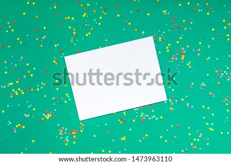 Creative New Year or Christmas greetings letter mockup flat lay top view Xmas holiday celebration envelope on green paper background. Template mock up greeting card or your text design 2020 #1473963110